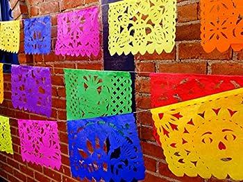 Cinco de Mayo Party Decorations Papel Picado Banner Over 9 feet Long Multicolored Paper Garland Mexican Decorations Weddings Quinceneras Birthdays Fiesta Party Supplies 5 de Mayo