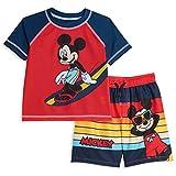 Disney Mickey Mouse Toddler Boys Raglan 2 Piece Rash Guard Swim...