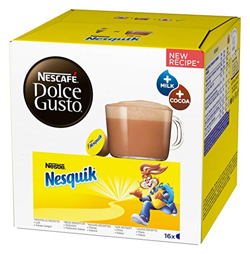 NESCAFÉ Dolce Gusto Nesquik (Trinkschokolade, köstlicher Kakao Geschmack, Leckeres Kakaoaroma von Nesquik, Schnelle Zubereitung, Aromaversiegelte Kapseln) 1er Pack (1 x 16 Kapseln)