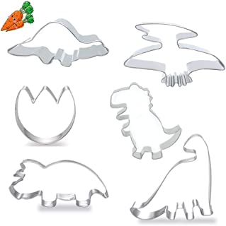 Dinosaur Cookie Cutters, Large Size Footprint, Tyrannosaurus, Brontosaurs, Rex, Spinosaurus, Triceratops Dinosaurs Stainless Steel Mold for Kids Holiday Wedding Birthday Party Supplies, 6 PCS