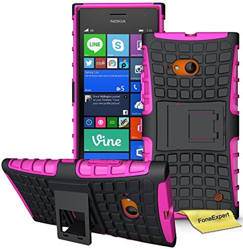 FoneExpert® Nokia Lumia 730 735 Handy Tasche, Hülle Abdeckung Cover schutzhülle Tough Strong Rugged Shock Proof Heavy Duty Hülle für Nokia Lumia 730 735 + Bildschirmschutzfolie (Rosa)