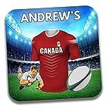 Cadeau personnalisé–Canada Maillot de rugby sur le thème Dessous-de-verre à bière/mat–Cadeau d'anniversaire–Cadeau