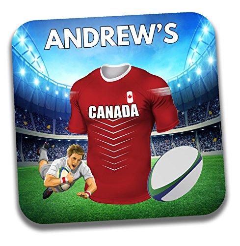 Personalisiertes Geschenk–Kanada Rugby-Shirt Mottoparty Getränke Untersetzer/Bierdeckel–Geburtstagsgeschenk–Strumpffüller