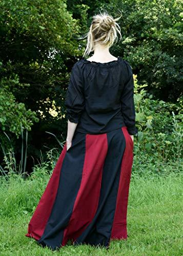 Mittelalterlicher Rock, weit ausgestellt aus schwerer Baumwolle Mittelalter LARP Wikinger Kostüm verschiedene Ausführungen (M, Schwarz/Rot) - 5