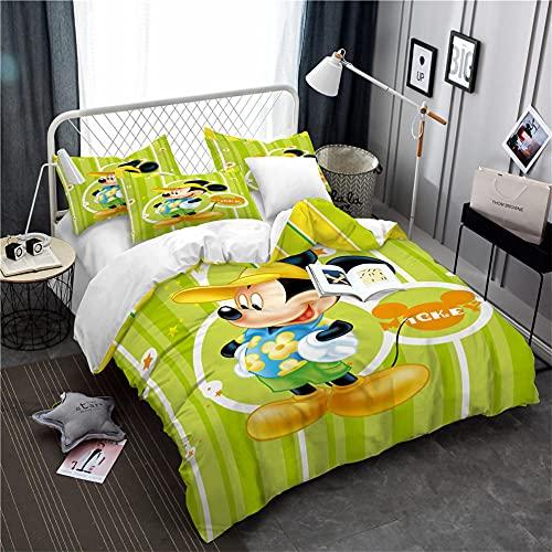 Funda Nordico 200X200 Cm Mickey Mouse 3 Piezas Juego De Cama Fundas Nordicas Juveniles con 2 Fundas De Almohada 50X75Cm Microfibre Suave Esponjoso Cálido Acogedor Juego De Cama