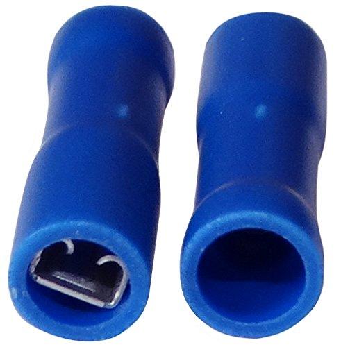 Aerzetix: 100 x Kabelschuhe Kabelschuh ( Klemme ) weiblich flach 2.8mm 0.8mm 1.5-2.5mm2 blau isoliert