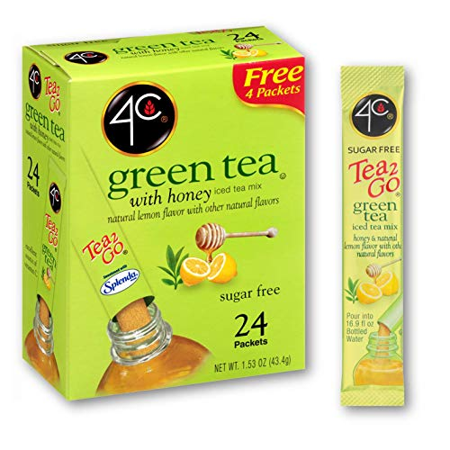4C Powder Drink Mix | Singles Stix, On the Go | Refreshing Water Flavorings | 24 count (Green Tea)