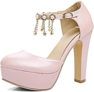 BalaMasa Womens ASL06510 Pu Block Heels