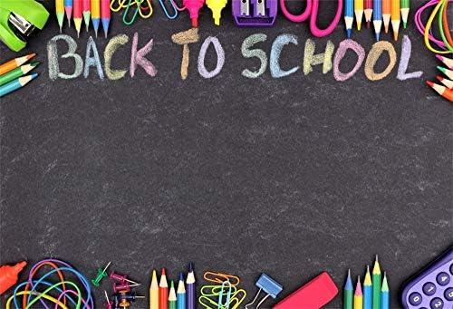 YEELE 10x8ft Back to School Backdrop School Supplies on Desk in The Auditorium Photography Background Online Teaching Course Physics Class Blackboard Kid Boy Student Portrait Photo Shoot Studio Prop