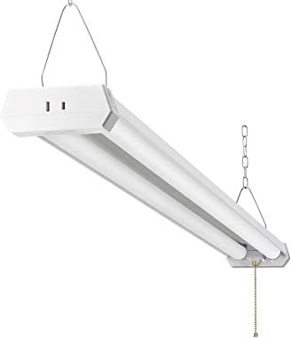 4FT LED Shop Light for garages, 5000LM 42W 6000K Daylight White,with Pull Chain (ON/Off),LED Ceiling Light, Linear Worklight Fixture with Plug, 1PACK 60K