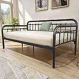 Metal Daybed Frame Heavy Duty Metal Slats Sofa Bed Platform Mattress Foundation Twin Day Bed Black Sanded Color