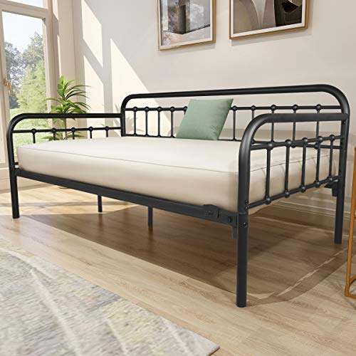 HOMERECOMMEND Metal Daybed Frame Heavy Duty Steel Slats Sofa Bed Platform Mattress Foundation Twin Day Bed Black Sanded Color
