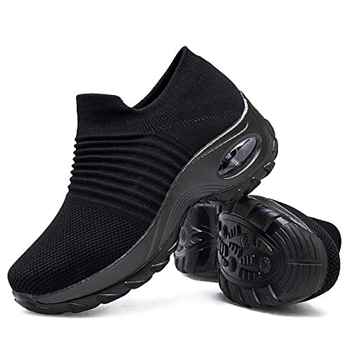Women's Walking Shoes Sock Sneakers - Mesh Slip On Air Cushion Lady Girls Modern Jazz Dance Easy Shoes Platform Loafers Pure Black,8.5