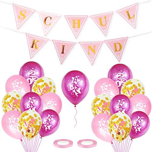 Bluelves Einschulung Mädchen Deko, Schuleinführung Schulanfang Deko Set für Mädchen - Schulkind Girlande, Zuckertüten Konfetti Rosa Luftballon zum Einschulungsdeko Mädchen