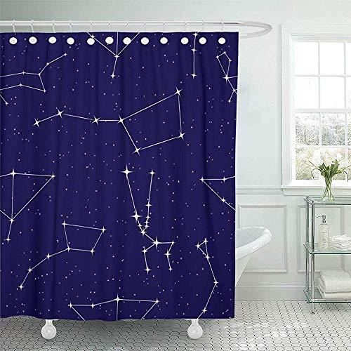 Cartel de cortina de ducha con constelaciones en el cielo de la estrella de la noche Osa Mayor Menor Tauro Canis del águila en la galaxia azul oscuro Cortina de ducha,72X72 in