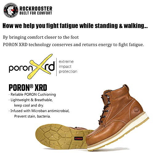 ROCKROOSTER Comfortable Work Boots Men, Composite Toe, Moc Toe Wedge Safety Water Resistant Leather Shoes for Electrician, Carpenter, Ironworker, Sheetmetal Worker constructions AP828-8.5 Brown