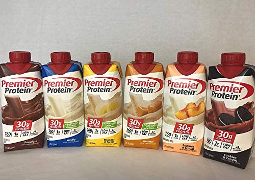 Premier Protein High Protein Shakes expect more - 2 Chocolate, 2 Vanilla, 2 Bananas & Cream, 2 Caramel, 2 Peaches & Cream, 2 Cookies & Cream (11 fl. oz, 12 pack)
