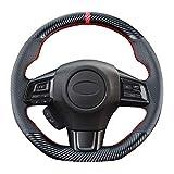 Carkooler DIY Stitching Carbon Fiber Steering Wheel Cover for Subaru WRX STI and Levorg 2015 2016 2017 2018 2019 / STI S209 2019 15 inches Leather Interior Accessories