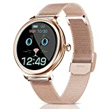 CatShin Montre Connectée Femmes Smartwatch Etanche IP68 Digitale Femme Cardiofréquencemètre Sport Chronometre Podomètre Fitness Tracker Watch Bracelet Connecté Tensiomètre pour iPhone Android Gold