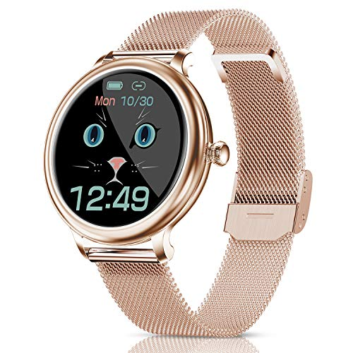 CatShin Smartwatch Damen,Fitness Armbanduhr Tracker Wasserdicht Smart Watch damen,Touchscreen Fitness Uhr für Damen mit Aktivitätstracker Herzfrequenz Schlafmonitor Schrittzähler für iOS Android Handy