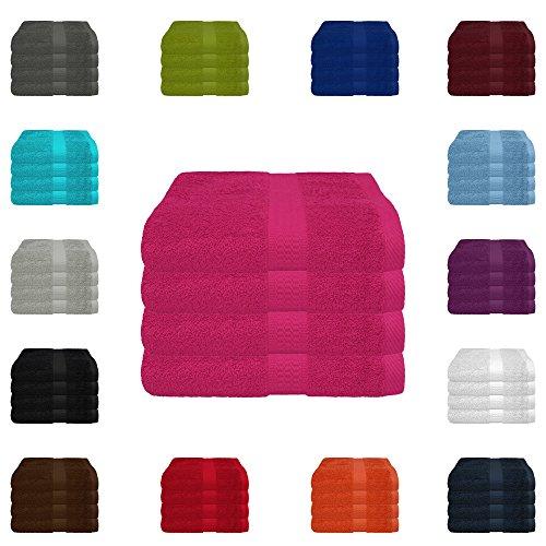 4 tlg. Handtuch-Set in vielen Farben - 4 Handtücher 50x100 cm - Farbe magenta