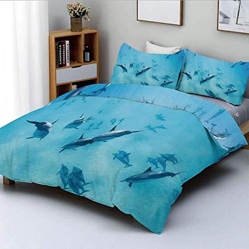 Juego de funda nórdica, grupo de delfines en Hawái Vida salvaje Animales subacuáticos Cuadro de naturaleza acuática tropical Juego de cama decorativo de 3 piezas con 2 fundas de almohada, azul, el mej