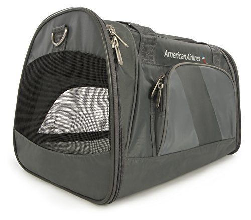 Sherpa, American Airlines Travel Pet Carrier, Airline Approved, Lightweight, Padded, Foldable, with Carrying Strap, Mesh Windows, Charcoal, Medium