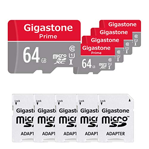 Gigastone 64GB 5-Pack Micro SD Card with Adapter, U1 C10 Class 10, Full HD available, Micro SDXC UHS-I Memory Card