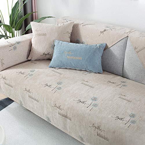 Eantpure Cojín de sofá Cuatro Estaciones Universal Antideslizante de Gama Alta Todo Incluido Cubierta de la Cubierta del sofá-Beige_90 * 180cm