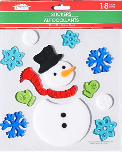Christmas House Christmas Winter Gel Window Clings - Snowman - 18 Piece