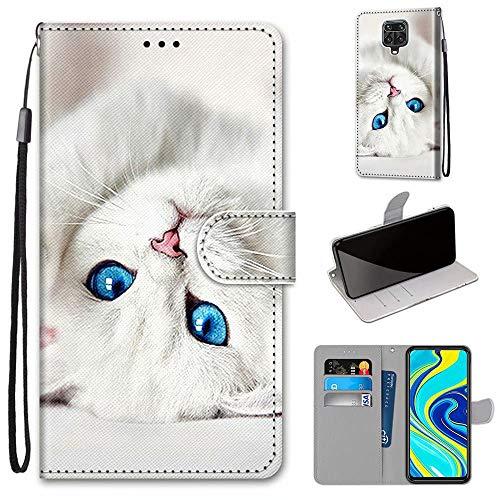 Miagon Flip PU Leder Schutzhülle für Xiaomi Redmi Note 9S,Bunt Muster Hülle Brieftasche Case Cover Ständer mit Kartenfächer Trageschlaufe,Weiß Katze