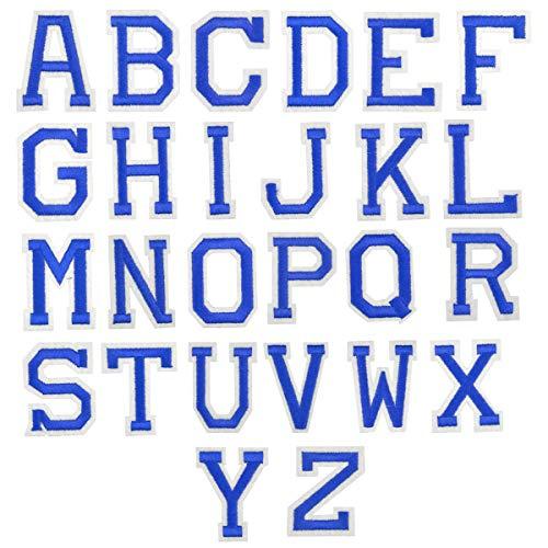 26Pcs Azul Letra Parches Termoadhesivos, A-Z Alfabeto Carta Parches Adhesiva Apliques de Costura, Hierro Coser en Parche de Planchar, Bordado Reparación Decorativa Tela Parches para Bolsa Ropa