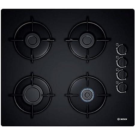 Bosch Plaque gaz 60cm POP6B6B10 – 4 Foyers – Table en verre dur – Allumage une main – cadre a surfaces affleurantes – Couleur noir