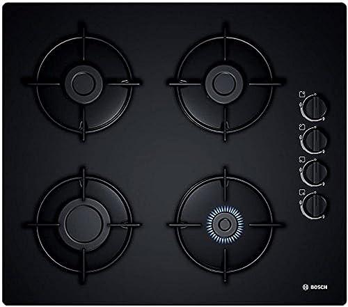 Bosch Plaque gaz 60cm POP6B6B10 – 4 Foyers – Table en verre dur – Allumage une main – cadre a surfaces affleurantes –...