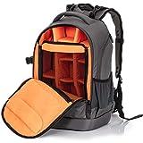 InFocus Gear Photographer Backpack - Large Photography Bag for DSLR Camera, Laptop, Tripod, Lens & Accessories - Adjustable Dividers, Padded Shoulder & Waist Straps - Stylish Light Ergonomic Design