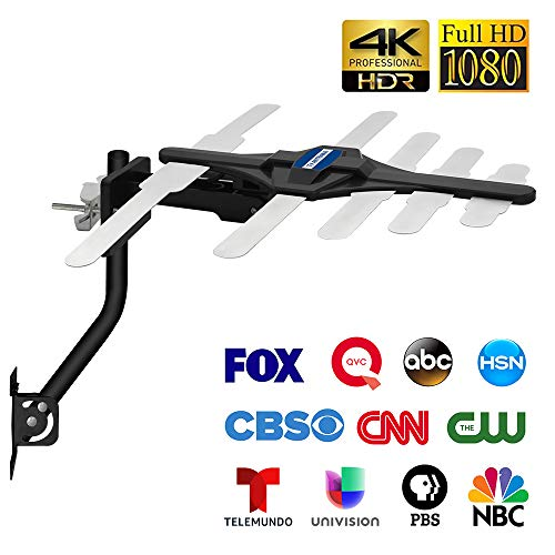 [Latest 2020] Indoor & Outdoor HD Amplified Digital TV Antenna up to 150 Miles Range - Support 4K 1080P Fire Stick and All TVs with Powerful Amplifier Signal booster-33 FT Coax Cable/Mounting Pole