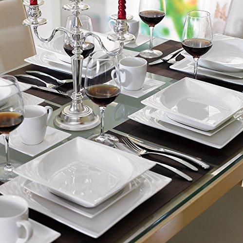 MALACASA, Serie Monica, Servizio da tavola in Porcellana, Set da caffè da 60 Pezzi, con 12 Tazze, 12 Piatti, 12 Piatti da Dessert, 12 Piatti Hondos, 12 Piatti Piani per 12 Persone