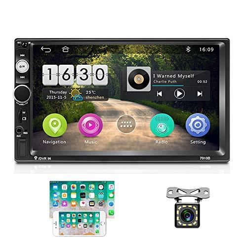 2 DIN Android Radio de Coche GPS 2G+16G CAMECHO Pantalla Táctil Capacitiva de 7 Pulgadas Bluetooth WiFi USB SD AUX FM Enlace Estéreo del Espejo del Automóvil + Cámara Trasera