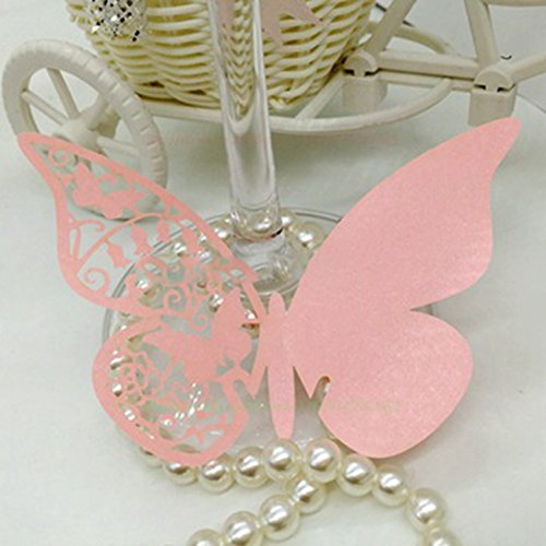 Wine Glass Card,50pcs Hollow Butterfly Wedding Party Number Name Place Cards Wine Cup Decoration Wall Sticker for Parties (White)