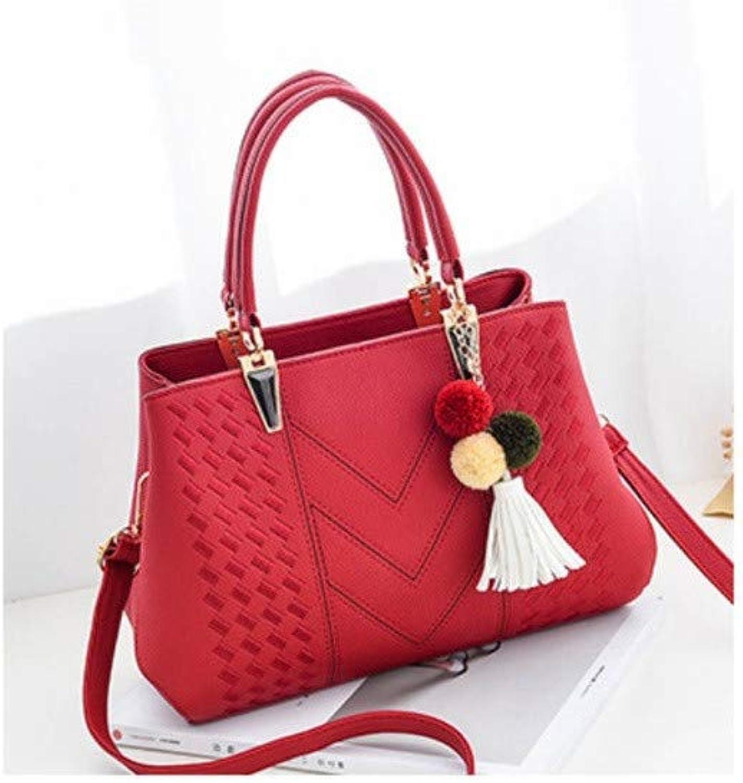 Ummer New European and American Big Bag Shoulder Handbag Simple Female Bag Cross-Sleeve Fashion Handbag,Red