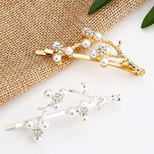 Pearl Hair Clips for Women Girls Gold Reindeer Horn Hairpin Antler Silver Glitter Twigs Metal Tree Branches Barrettes Holiday Bride Wedding Decor Accessories Easter Mother's Day Craft With Gift Box