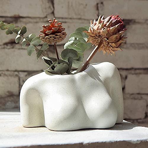 dgfd Florero a tope, maceta femenina con agujeros de drenaje, florero de resina moderno Boho Chic Butt Planter para plantas interiores y exteriores - C