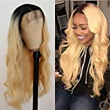 Oxeely Soft Blonde Long Wavy Hair Synthetic Lace Front Wigs with Natural Baby Hair #613 Glueless Heat Resistant Wig for Women 22inch