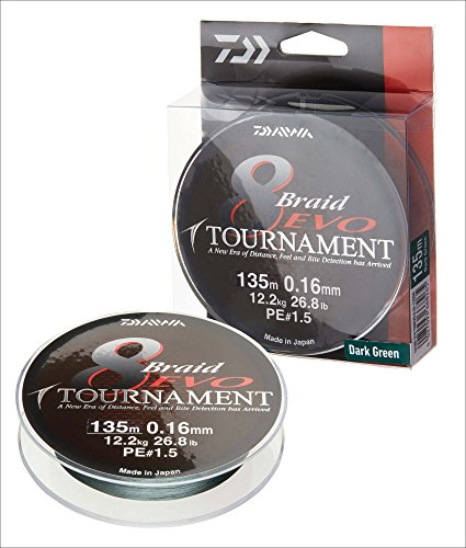 Daiwa Tournament 8 Braid Evo, Dunkelgrün, 0.16mm, 12.2kg / 26.8lbs, 1000m, Rund Geflochtene Angelschnur, 12782-016