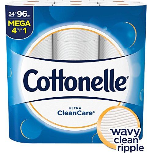 Cottonelle Ultra Cleancare Toilet Paper, Strong Bath Tissue, Septic-Safe, 24 Mega Rolls