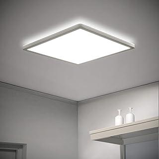 VECINO Plafonnier LED plat - Plafonnier carré - 18 W - 4000 K - IP44 - 2,5 cm - Ultra fin - Pour salle de bain, couloir, c...