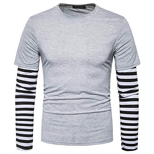 Coloré(TM) Homme T-Shirts de Sport Manches Longues Vêtements de Fitness Jogging (M, Gris clair)