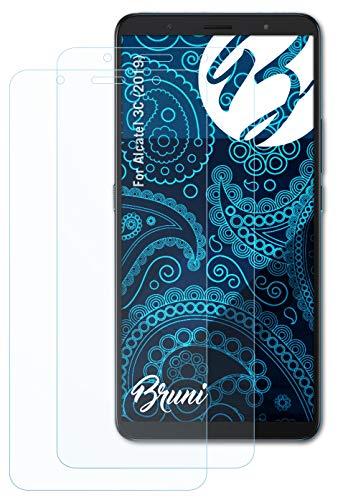 Bruni Schutzfolie kompatibel mit Alcatel 3C (2019) Folie, glasklare Bildschirmschutzfolie (2X)