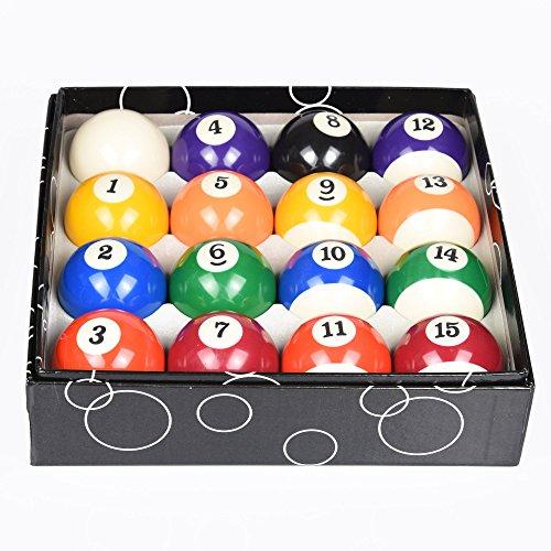 ISPiRiTo Billiard Ball Set Regulation Size 2-1/4 Inch Pool Balls Set Complete 16 Balls American Style Resin Balls Pool Table Accessories