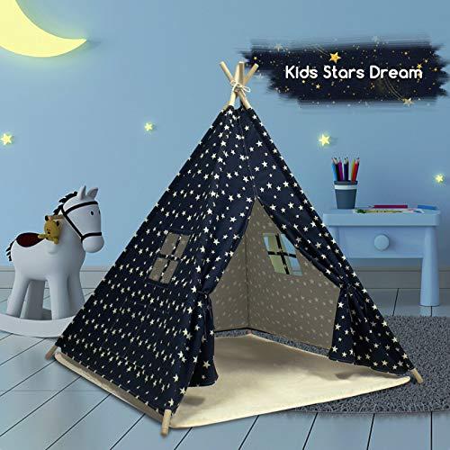 Carpa | Tipi para Niños con Tapete para Niños & Niñas - Casita de Juegos para Interiores & Exteriores | Muebles de Dormitorio (Azul)